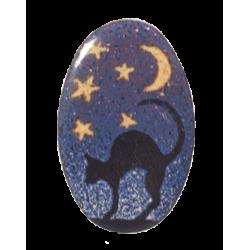 Broche ovale chat au ciel étoilé