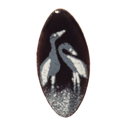 brooch oval with wader marsh