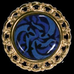 Pince foulard ronde ornée d'un triskel bleu