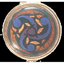 boite celte ronde dorée décorée du triskel universel