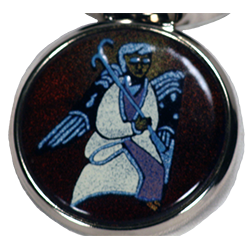 pill box with black angel drawn