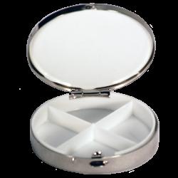 pill box with black angel drawn